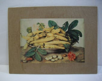 French Country Rustic Wall Art / Beans in a Bowl Wall Art / Recycled Book Plate Wall Art Ready To Hang or Frame