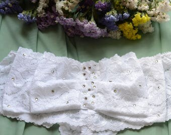 Clothing  Women's Clothing  Lingerie  Panties The Vintge Look  Bridal Crystals Bow Panties in White Lace  SAMPLE SALE