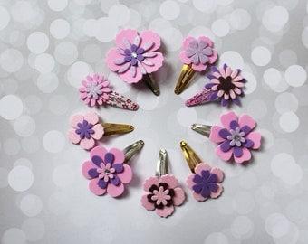 Set of 9 Hair Clips -  Baby Hair Clips -  Glitter Hair Clip - Pink Hair Clips -  Flower Hair Clip - Ready to ship