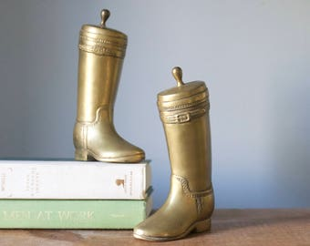 Vintage Pair of Solid Brass Riding Boots | Equestrian Bookends