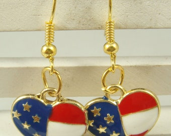 Earrings Patriotic Hearts Gold Plated