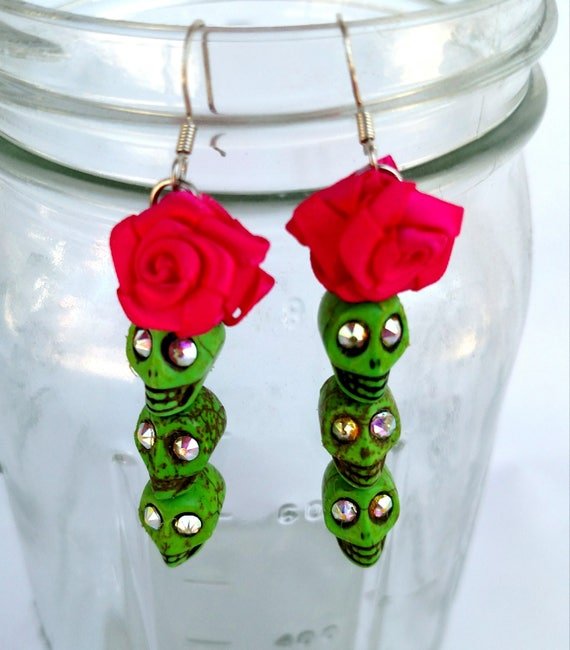 Green Skull Earrings with Swarovski Crystals and Hot Pink Satin Rosettes - Day of the Dead Halloween Jewelry