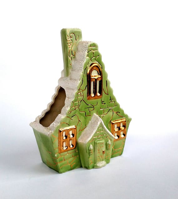 Vintage 1960's Ceramic House Shaped Planter Flower Vase