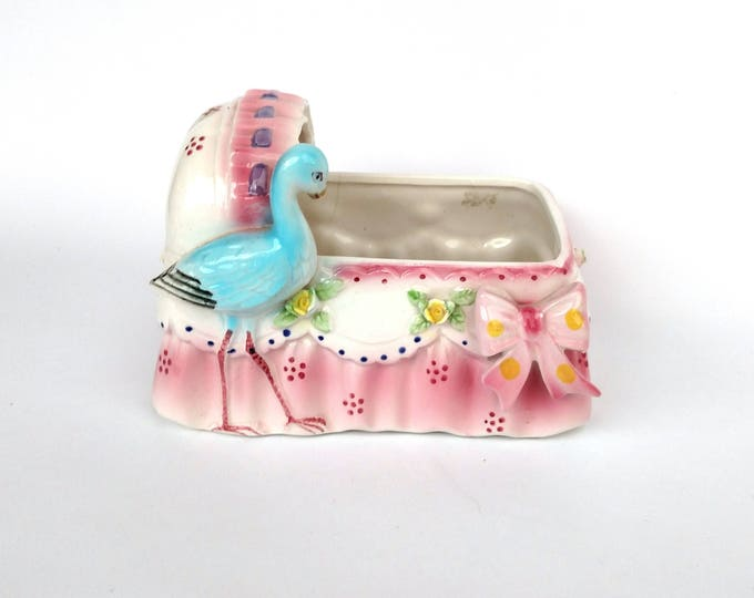 Vintage Pink Cradle Planter Container with Blue Stork - by Enesco - Damage Discount