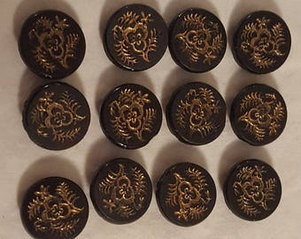 Set of 12 Antique Victorian Black Glass Buttons with Gold Luster