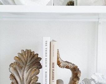 Pair of Neo Classical Vintage Acanthus Plaster Bookends Shelves Hollywood Regency Shabby Chic