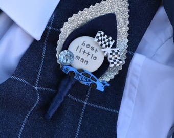 Page Boy / Best Little Man Personalised Wedding Buttonhole - Vroom Sparkle Racing Car Chequered Flag