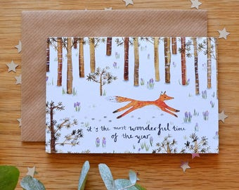Wonderful Time Fox Christmas Card