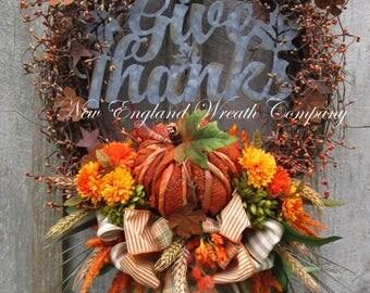 Fall Wreath, Autumn Wreaths, Thanksgiving Wreath, Harvest Decor, Pumpkin Wreath, Fall Woodland, Fall Designer Wreath, Fall Country Wreath