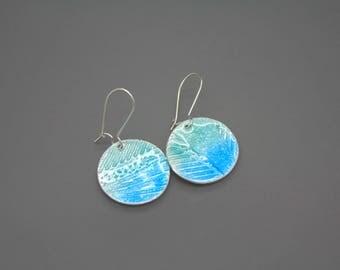 Fused Glass Jewelry, Enamel Jewelry, Enamel Earrings, Blue Earring, Glass Jewelry, Glass Earrings, Enameled Earrings, Beach Jewelry