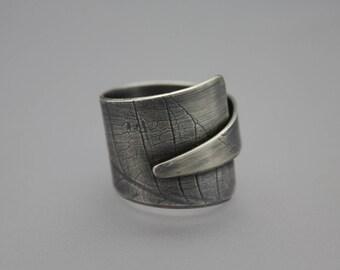 Wrap Ring, Leaf Ring, Adjustable Ring, Sterling Wrap Ring, Silver Adjustable Ring, Textured Silver, Large Ring, Silver Band, Silver Leaf