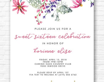 Floral Sunflower Invitation