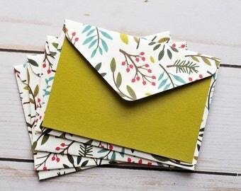 SALE-Delicate Leaf Mini Cards // Set of 4 // Blank Cards // Gift Card Envelopes // Botanical // Floral Cards // Mini Note Cards