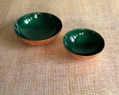 2 Deep Green Enamel Glass on Copper Offering, Smudge or Trinket Bowls - Jewelry Storage, Alter Bowl, Salt Dish, Mid Century Modern, Nesting