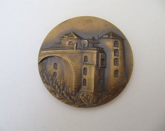 Vintage medal, commemorative medallion Royal philatelic circle, vintage French medals, jewelry component, bronze medals medallions Belgium