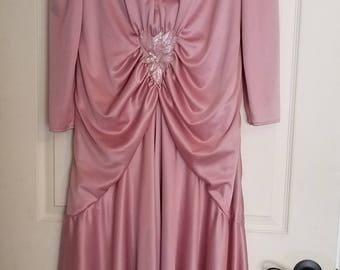 Mister Jay Beautiful Pink Evening Dress, Vintage 1980's, Asymmetrical Hemline, Long Sleeves, Medium/Large