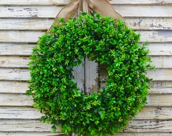 Boxwood Wreath  - All Season Wreath - Artificial Boxwood Door Wreath - Choose Size