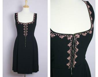 Vintage Black + Pink Embroidery Dirndl Dress M