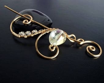 Shawl Pin, Scarf Pin, Brooch pin, Gold pin, Wire pin, Artisan Jewelry