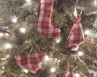 Set of 4 ornaments Christmas red white gray plaid primitive