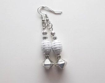 White and Silver Striped Earrings- Long Dangle Drop Earrings (561)