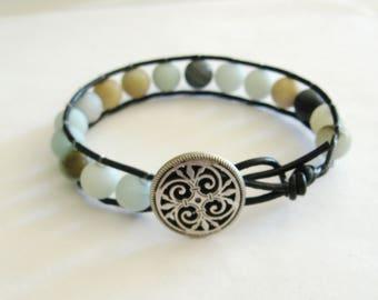 Amazonite Bracelet, Amazonite Wrap Bracelet, Leather Bracelet, Gemstone Bracelet, Blue Gemstone Bracelet, Amazonite Leather Bracelet