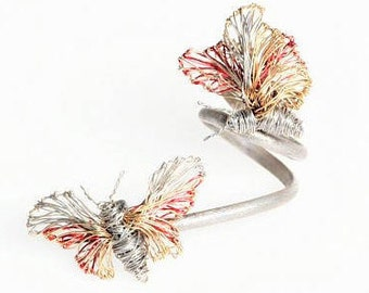 Butterfly ring Fine ring Solid Silver gold ring Wire ring Unusual ring Double ring Anniversary gift women Christmas gift Wedding jewelry set