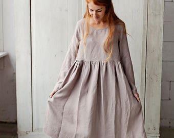 Womens Linen Dress, Womens Smock Dress, Shirt Dress, Lavender Dress, Womens High Waist Dress, Womens Clothing, Pleated Dress, Beige Dress