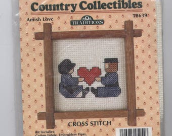 Amish Love Counted Cross-Stitch Kit with Frame