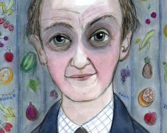 Literary Portrait, Roald Dahl Art Print, Gothic Story Writer, Bibliophile Gift, Library Decor, Willy Wonka Art