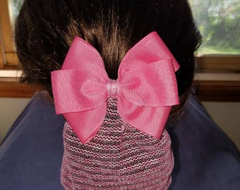Long Snood with a Fantasy Rose Colored Bow attached to a Barrette