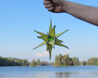 Stained glass window hanging suncatcher 3D star, yellow with blue green and clear iridescent center, 9 inch diameter  FREE US SHIPPING