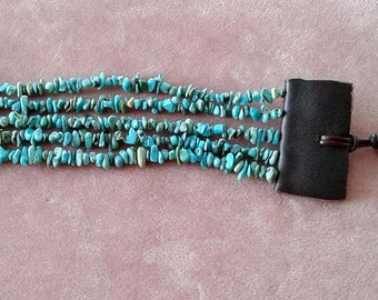 Turquoise Beaded Wrap Bracelet with Leather Closure