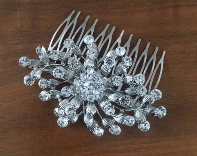 Silver Crystal Hair Combs, Silver art deco crystal combs, Silver Crystal Hair Accessories, Vintage Style Hairpiece, Wedding Hair Accessories