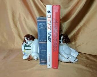 Vintage Quon Quon Dogs Books Handpainted Bookends JAPAN St. Bernard 1980 Saint *eb