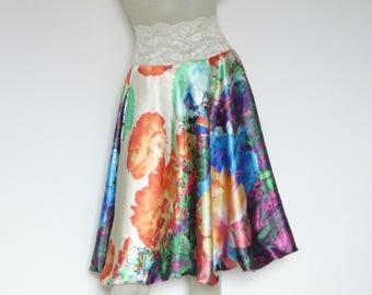 Colorful Desinger Print  Satin  Tango Skirt / Jupe  US 4 and 6  Milonga Dance Wear Circle Skirt adorable Tango Robe