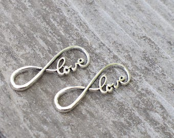 4 Silver Infinity Love Charms 39mm Antiqued Silver
