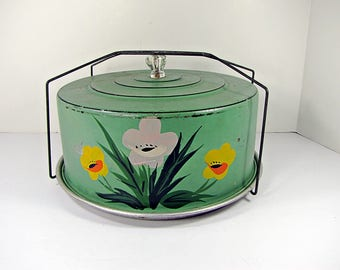 Vintage RUSTIC CAKE CARRIER Green w/ Flowers & Glass Knob Storage Cupcake Pie Cookie Safe Kitchen Display