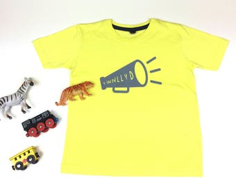 NEW Kids Clothes Yellow T-shirt Welsh Text Swnllyd Noisy Grey Unisex