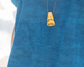 Park -- bumble bee jasper minimalist pendant, boho, natural, bohemian, trendy, yellow, orange nature necklace