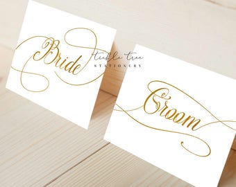 Bride and Groom Wedding Signs Printable File - Faux Gold Foil