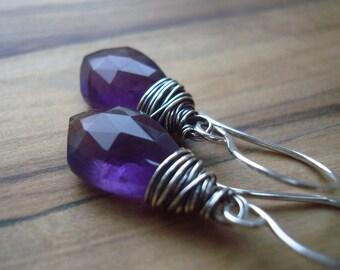 Amethyst earrings - February birthday gift for her - Amethyst jewellery - Sterling silver earrings - Purple earrings - February birthstone