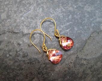 NEW Swarovski Light Rose Rosaline briolette earrings Sterling Silver Vermeil Earrings Wedding Jewelry Prom Jewelry