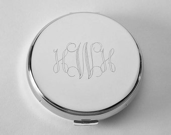 Custom Engraved Compact Mirror Personalized Non Tarnish Nickel Plated Flat Purse Mirror  - Hand Engraved