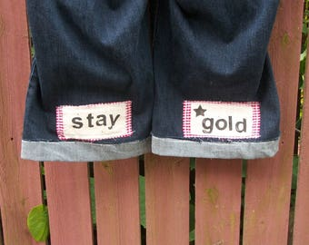 Embellished Patchwork Jeans STAY GOLD Altered Capri Jeans Positive Message BOHO Gypsy Cowgirl Clothing Size 18