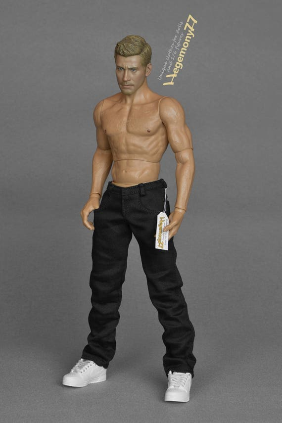 1/6th scale black jeans pants / trousers for: regular size 12 inch collectible movable action figures