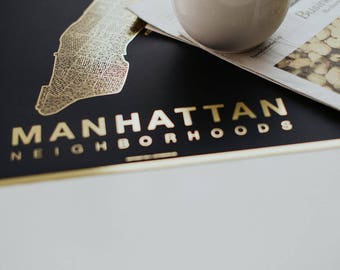 MANHATTAN Map. Screen Print Poster. Neighborhood Map. Modern Home Decor Print. Manhattan NYC New York Art Poster. Multiple Colors.