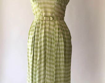 vintage 1950s dress / 50s green and white cotton harlequin print dress / size small medium