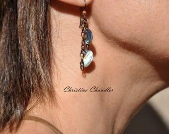 New Zealand Paua - Abalone and Copper Earrings - Under the Sea - Mermaid Earrings - Abalone Earrings - Copper Jewelry - Abalone Jewelry