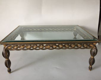 Hollywood Regency Silver and Gold Gilt Coffee Table